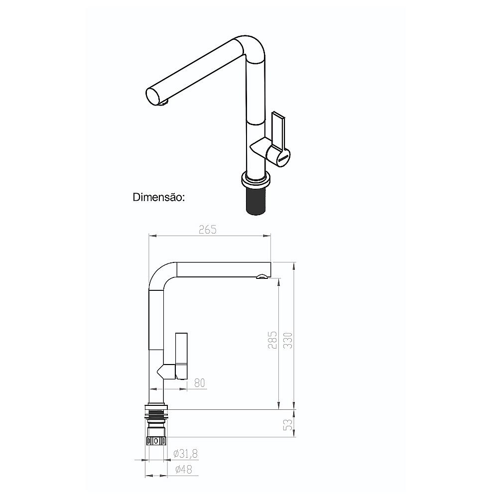 Misturador Monocomando 300 Debacco Grey (Cinza)  - Sua Casa Gourmet e Cia