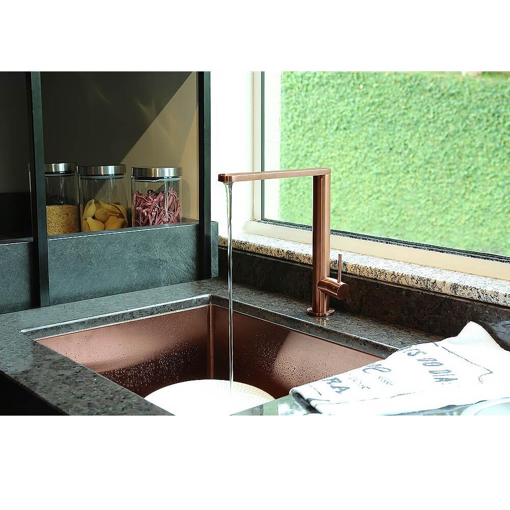 Misturador Monocomando Primaccore 166 Rose Gold Debacco  - Sua Casa Gourmet e Cia