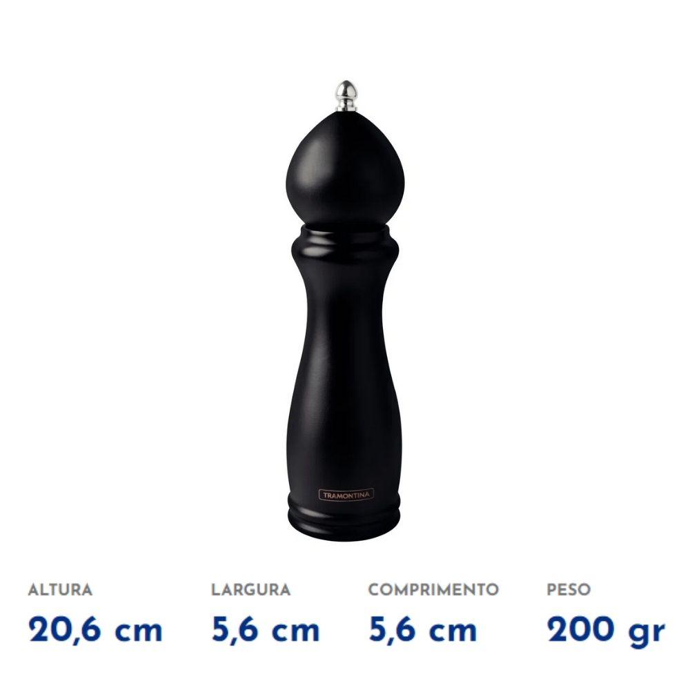 """Moedor de Pimenta e Sal Tramontina Churrasco Black em Cerâmica com Recipiente de Madeira 8""""  - Sua Casa Gourmet e Cia"""