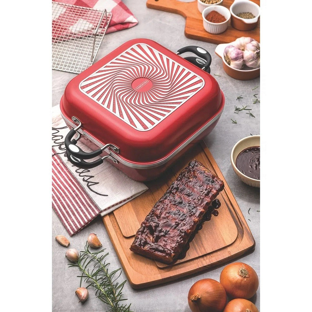 Panelas Lyon Alumínio Forjado Antiaderente Starflon Silicone Vermelho 06 Peças  - Sua Casa Gourmet e Cia