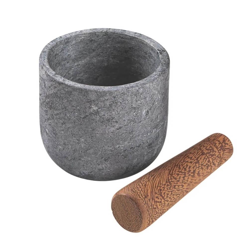 Pilão e Mortar Tramontina Organic Teca e Pedra Sabão 12cm  - Sua Casa Gourmet e Cia