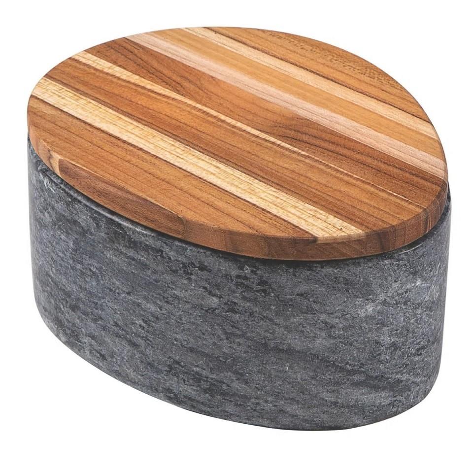 Pote Tramontina Concreta Pedra Sabão Polida com Tampa Madeira Teca