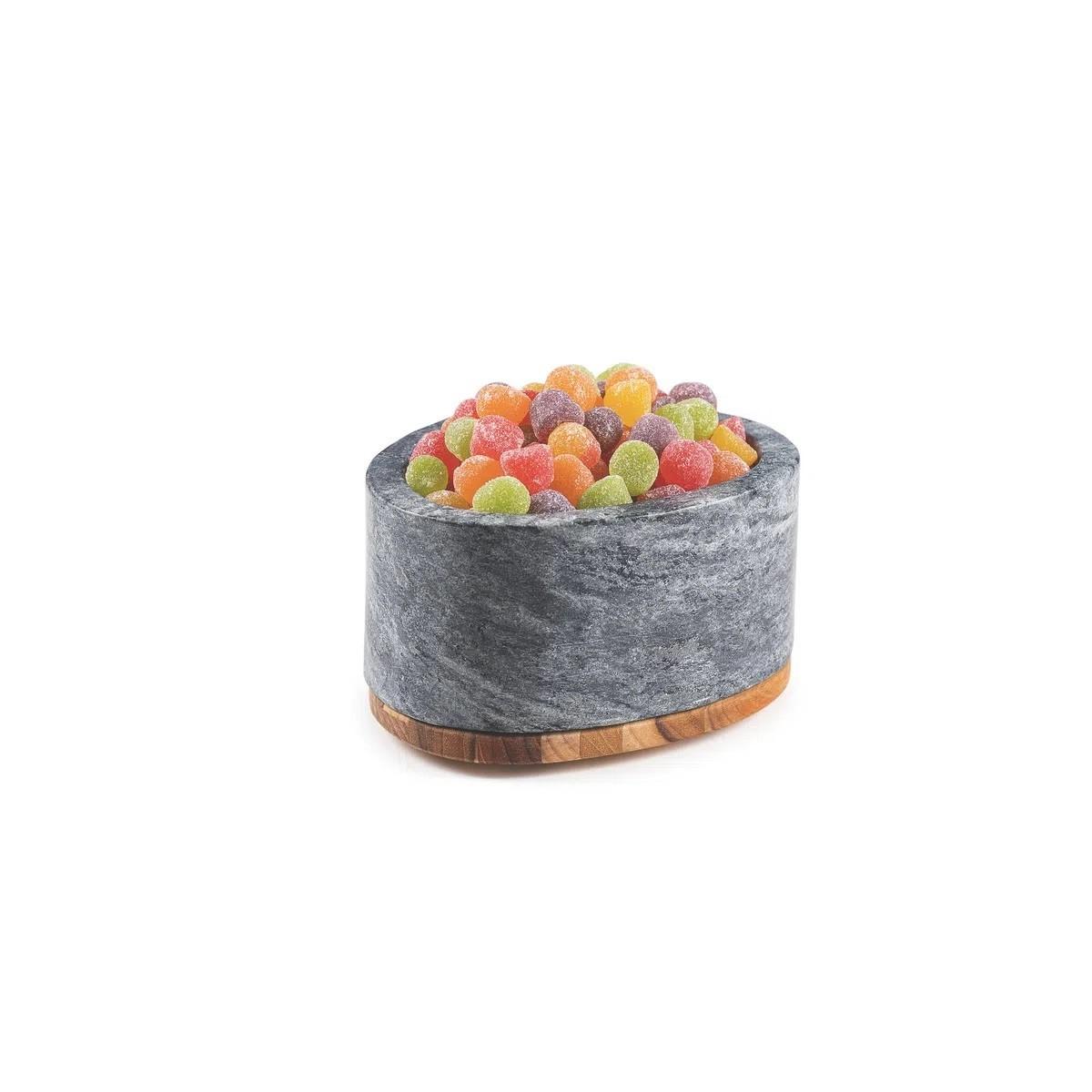Pote Tramontina Concreta Pedra Sabão Polida com Tampa Madeira Teca  - Sua Casa Gourmet e Cia