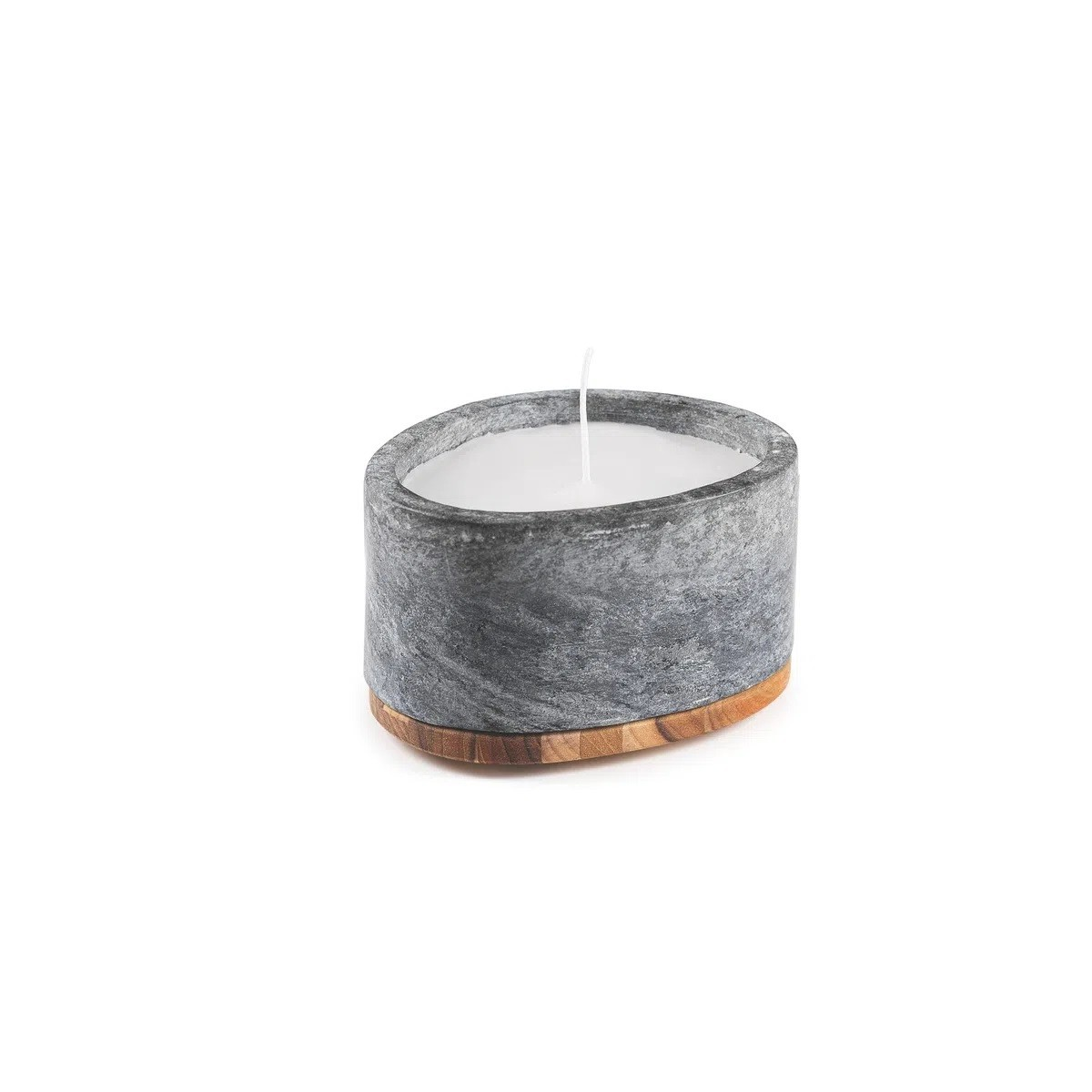 Pote Concreta Pedra Sabão Polida com Tampa Madeira Teca Tramontina  - Sua Casa Gourmet e Cia