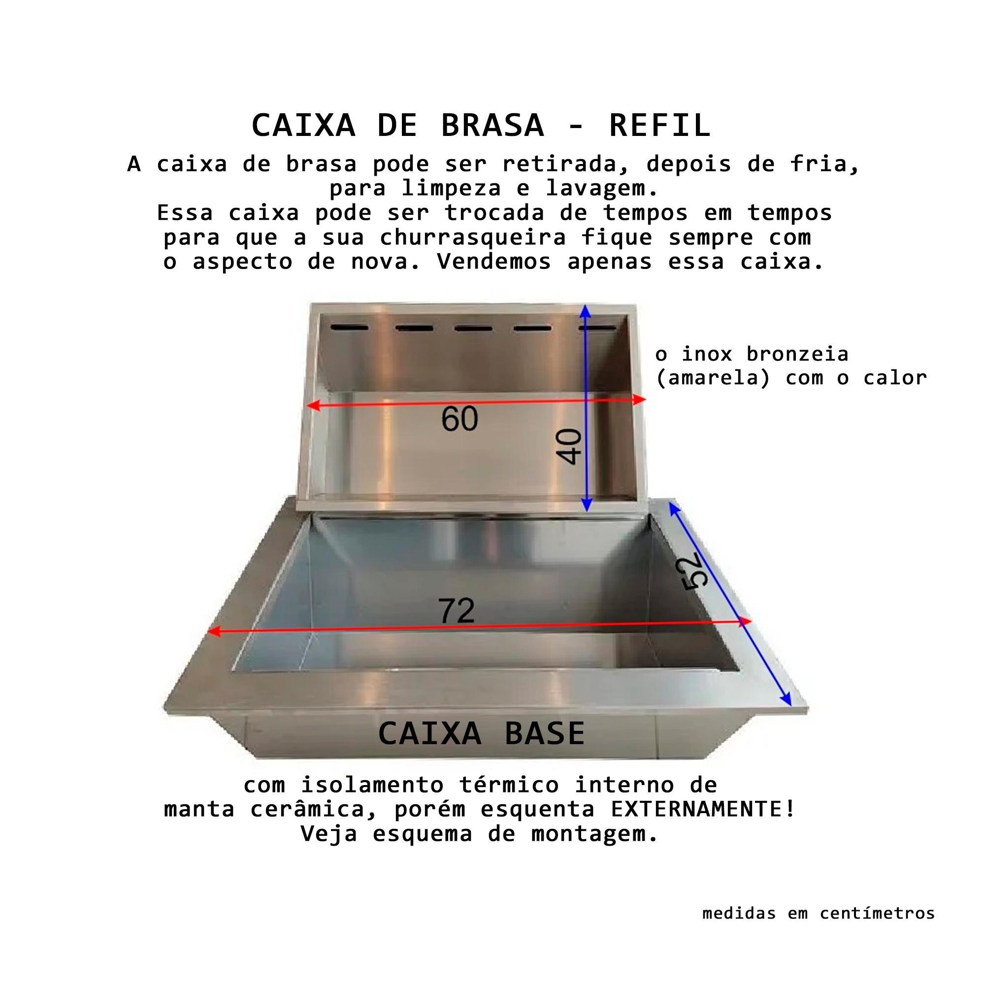 Refil Parte Interna Da Caixa Braseiro para Churrasco - Inox 304  - Sua Casa Gourmet e Cia