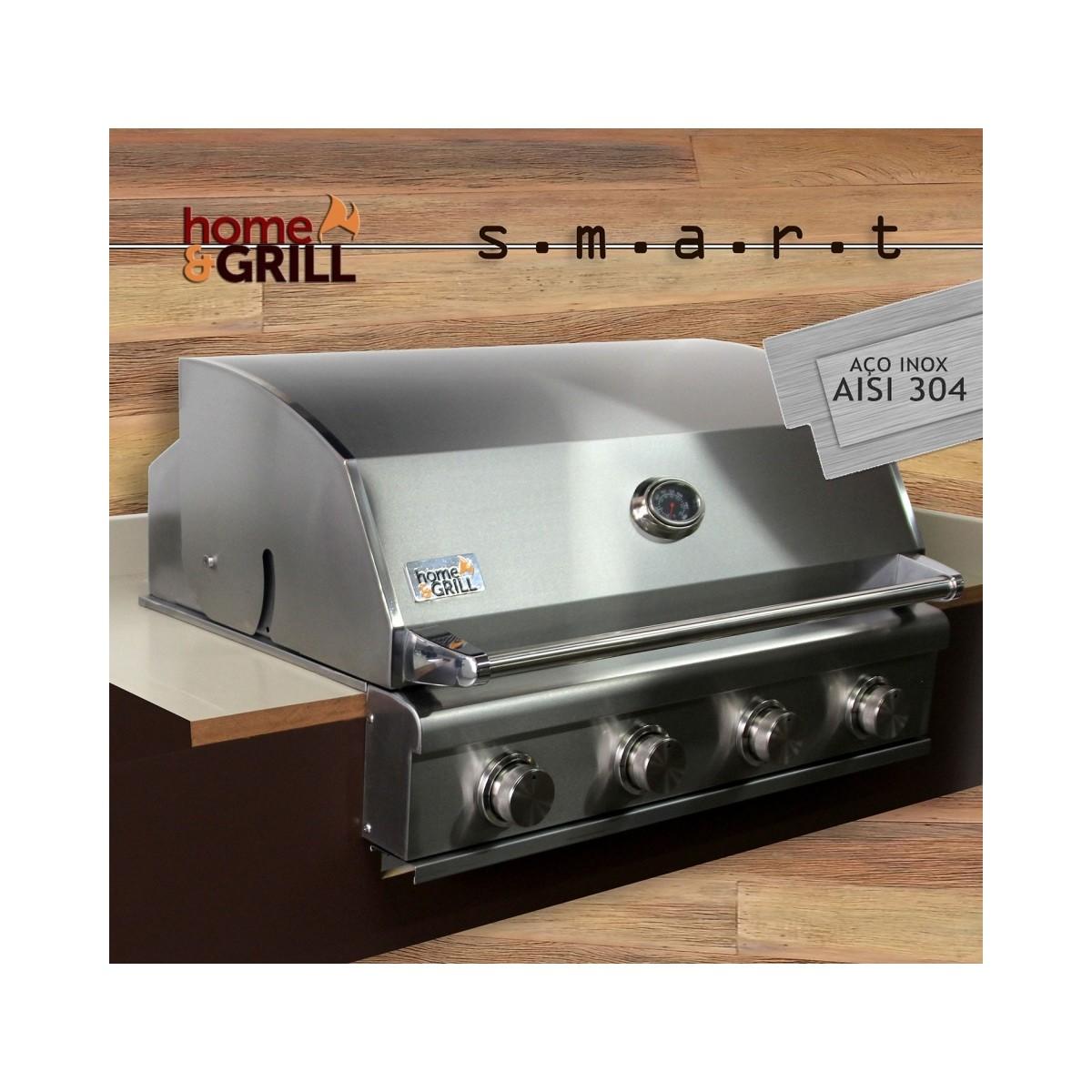 Churrasqueira a Gás Home e Grill Smart HG-4BS - 4 Queimadores - 100% Inox 304  - Sua Casa Gourmet e Cia
