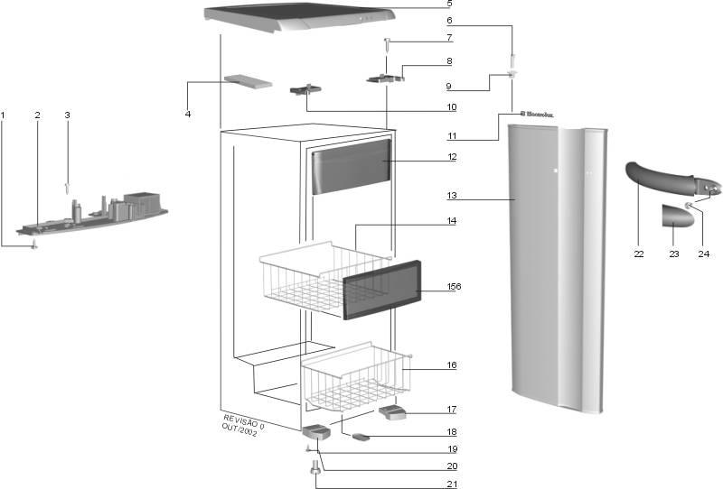 Tampa Frontal Do Cesto Freezer Vertical  Electrolux Fv  Fe