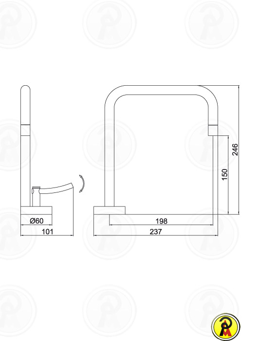 (Sob Consulta) Misturador Monomix para Cozinha Lorenzetti LorenRound 4257 C60