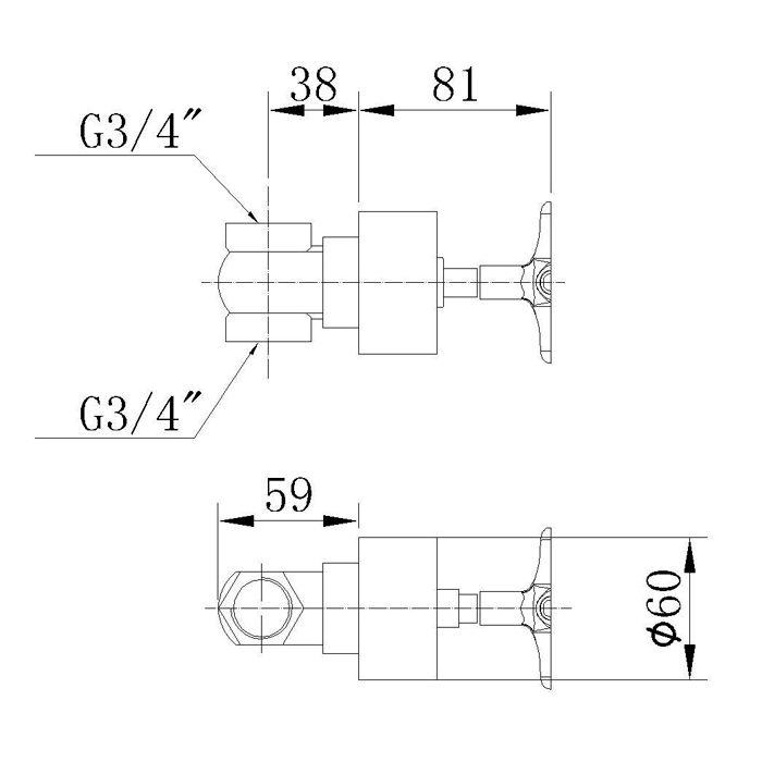 Acabamento para registro DecaBase Jiwi WJ-1171-219A