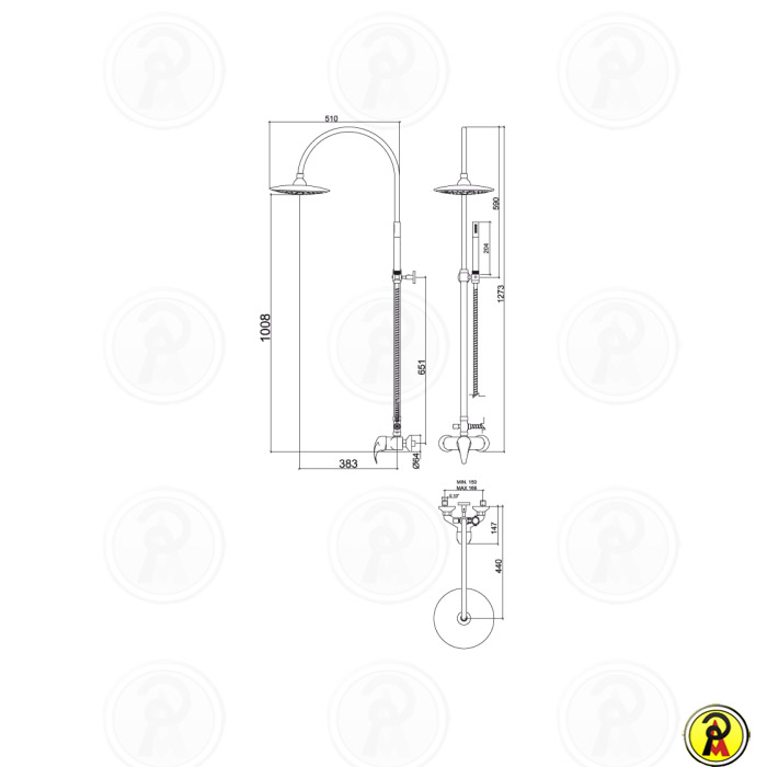 Barra Externa com Misturador Monocomando e Ducha Saturno Lorenzetti Allure 2992 C71  - Pinezi Compra Rápida