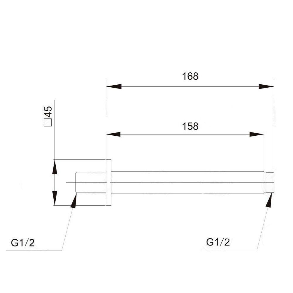 Braço de chuveiro para teto (QUADRADO) Jiwi WJ-0310