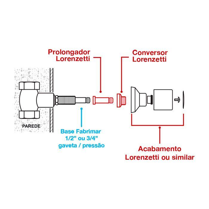 """Conversor para Base Fabrimar Gaveta e Pressão 1-2 e 3-4"""" T-F01 Lorenzetti"""