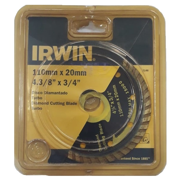 Disco Diamant. Irwin Turbo 110mm x 20mm - 4.3/8'' x 3/4''