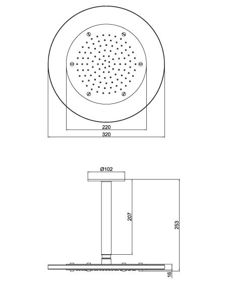 Ducha com Espalhador Vidro e Metal Lorenzetti LorenRain Round 7016 C16