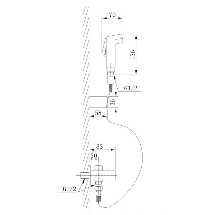 Ducha Higiênica com Registro e Derivação Jiwi WJ-1072-157A