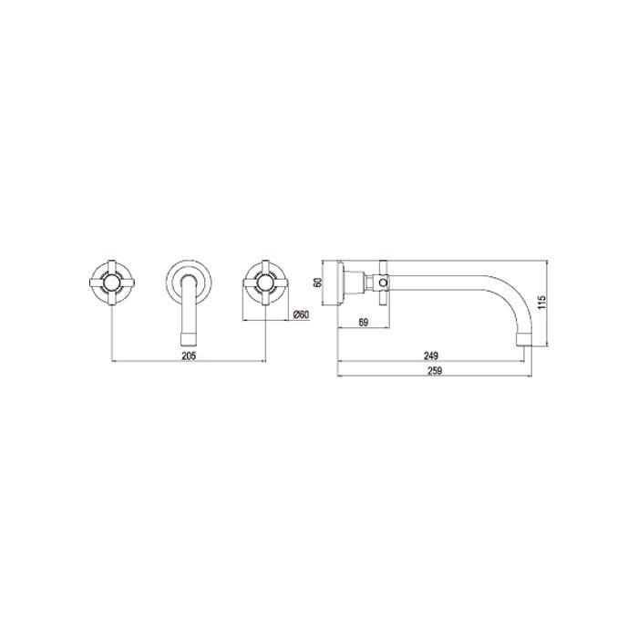 Misturador para Lavatório de Parede LorenFit Cross 1878 C34