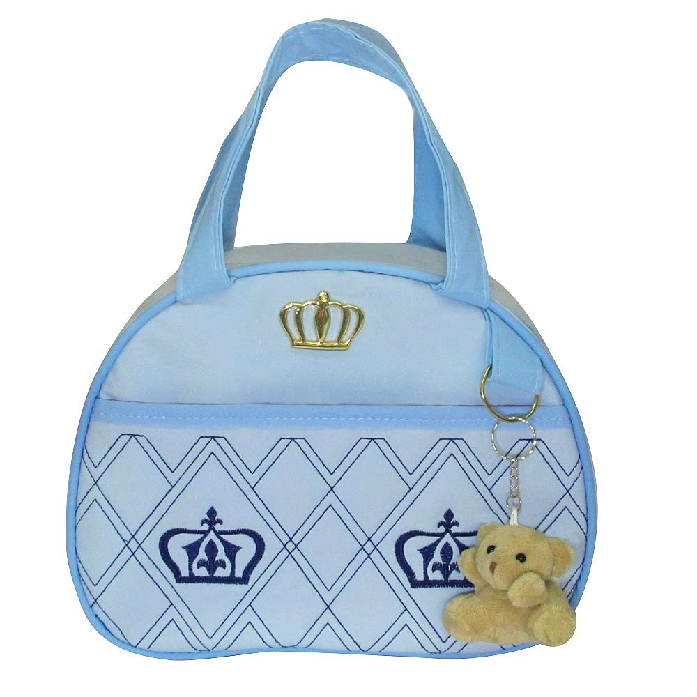 Kit Bolsa Maternidade Jokenpô Ludy Baby Coroa Azul Bebê