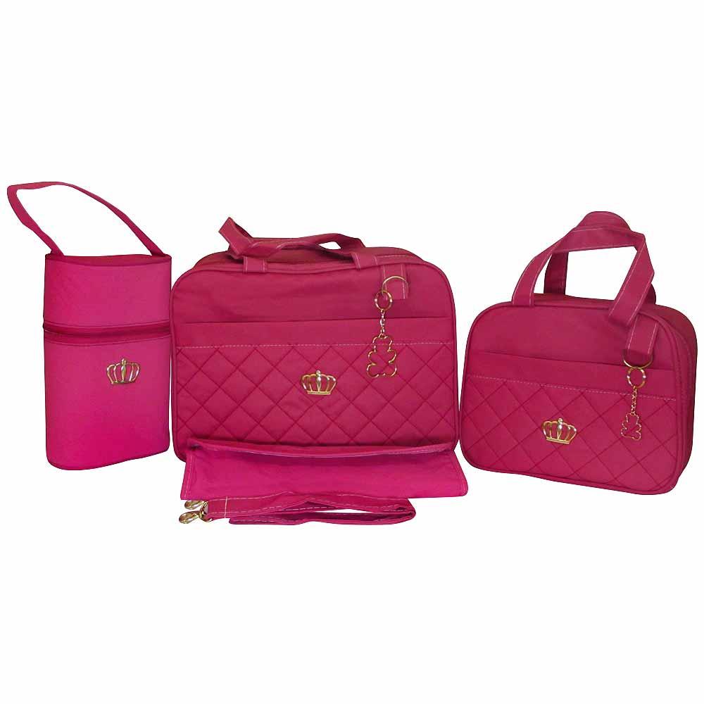 Kit Bolsa Maternidade Jokenpô Ludy Baby Matelassê Pink