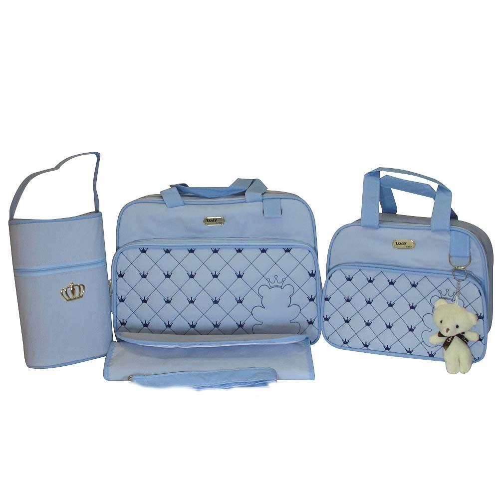 Kit Bolsa Maternidade Jokenpô Ludy Baby Urso Pelúcia Azul Bebê