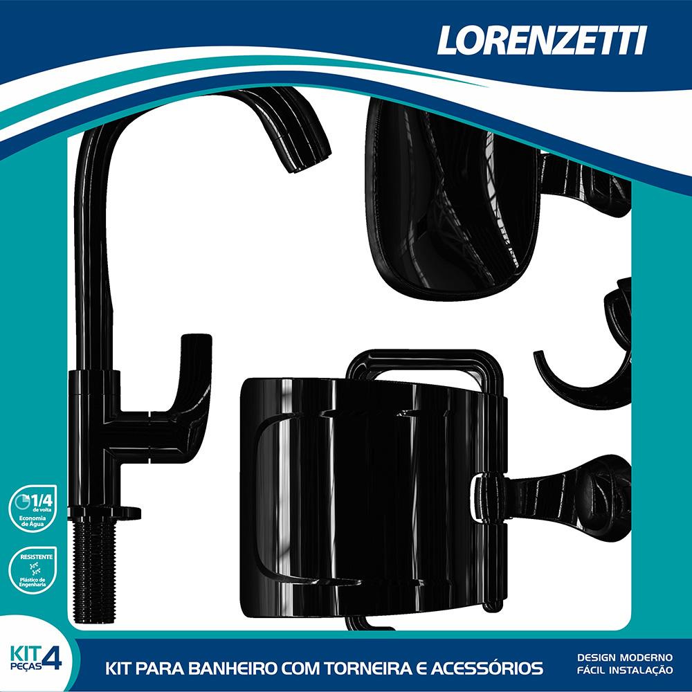 Kit Fitt com Torneira e Acessórios Preto Lorenzetti 2004 F61