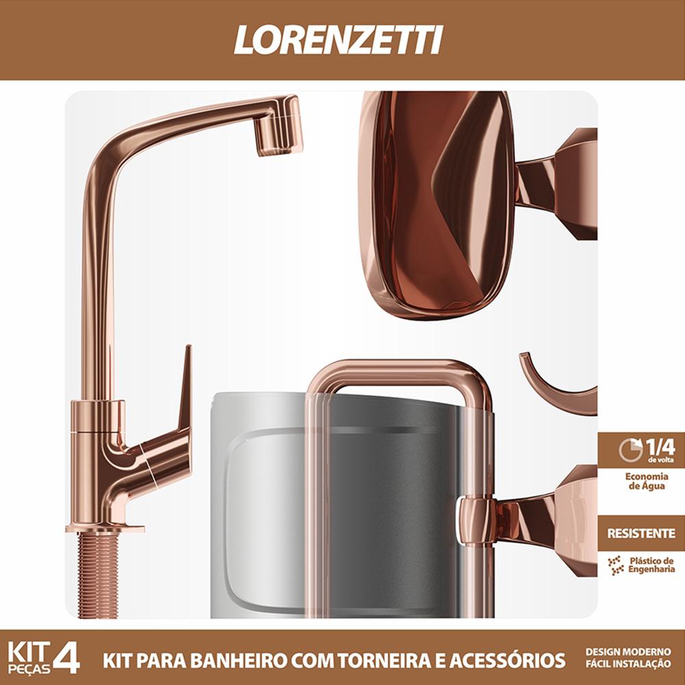 Kit Flatt com Torneira e Acessórios Rose Gold Lorenzetti 2004 F71