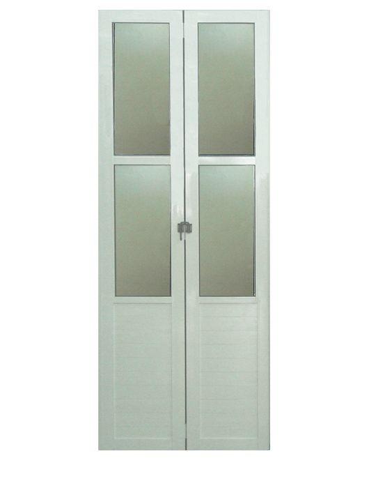 Kit Montado Porta Camarão Predial com Vidro Boreal em Alumínio Branco Lux Esquadrias
