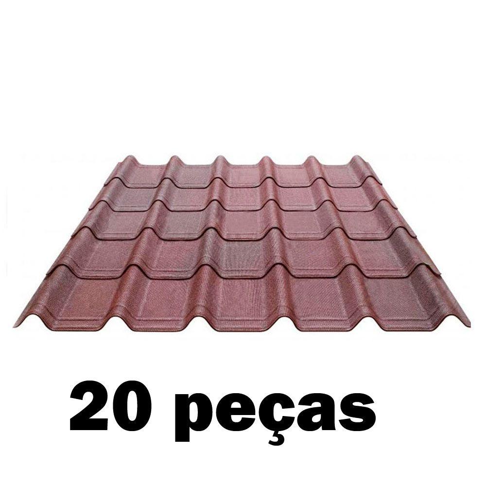 Kit Telha Ecológica Onduline Onduvilla 1,06X0,40m Vermelha Mesclada-20 peças