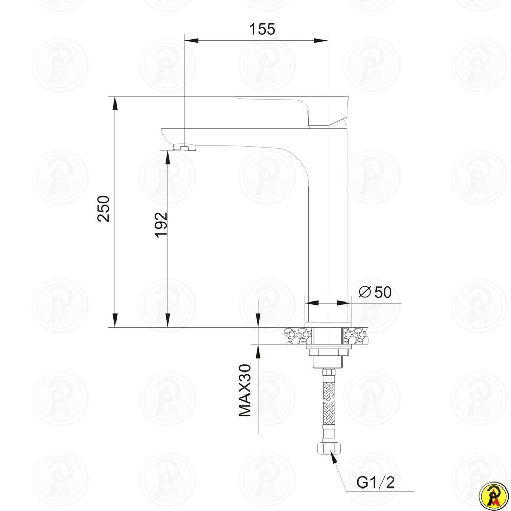 Misturador alto monocomando para lavatório de mesa Jiwi WJ-1722-236B