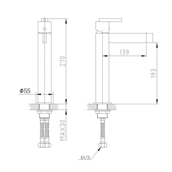Misturador Alto Monocomando para Lavatório Jiwi WJ-1322-211A