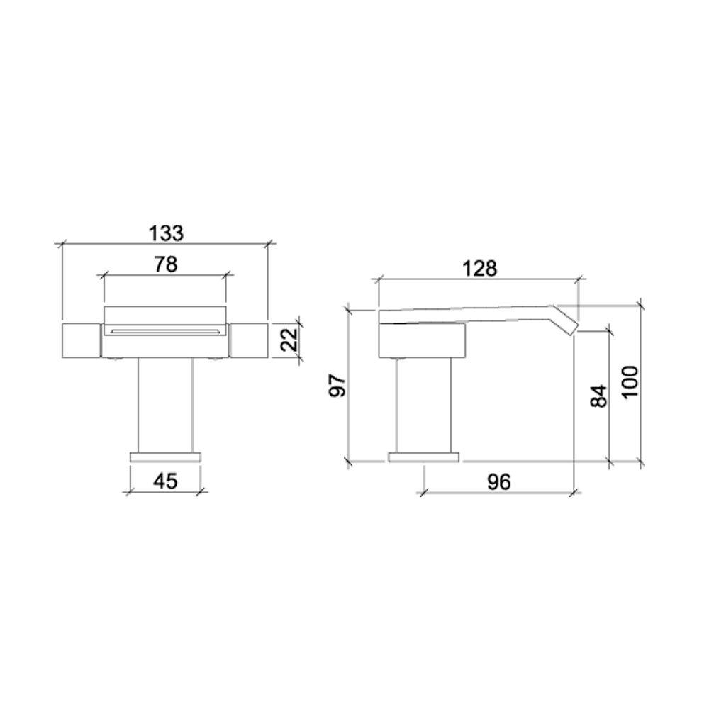 Misturador Monobloco para Lavatório de Mesa Bica Cascata LorenQuadra Plus 3876 C94