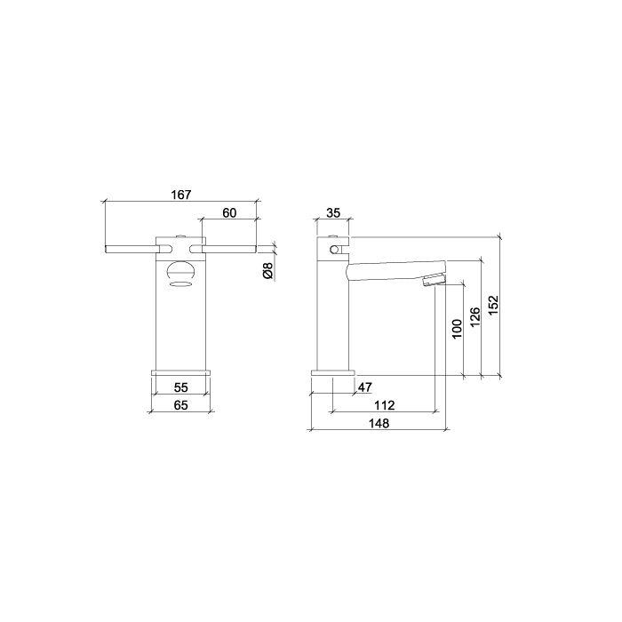 Misturador Monobloco para Lavatório de Mesa LorenElipse Duo 3875 C66