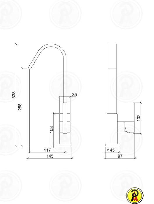 Misturador Monocomando de Mesa Lorenzetti LorenQuadra Slim 2257 C74
