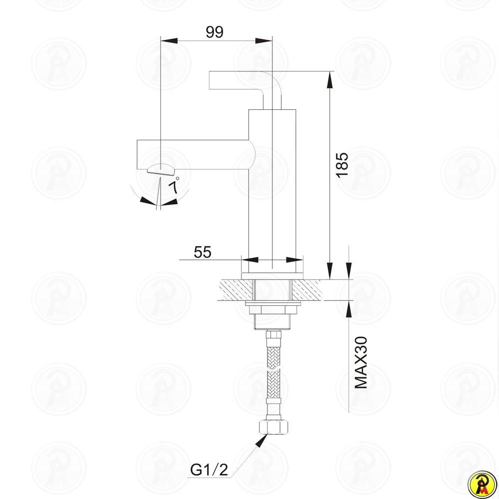 Misturador Monocomando de Mesa para Lavatório Jiwi WJ-2321-215A