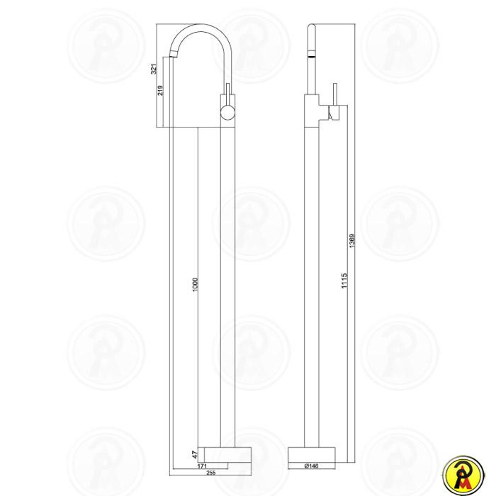 Misturador Monocomando de Piso LorenFloor 2880 C85