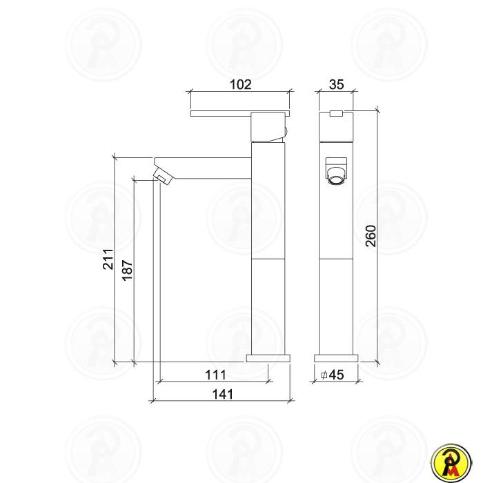 Misturador Monocomando Lavatório Bica Alta Lorenzetti LorenQuadra Slim 2877 C74