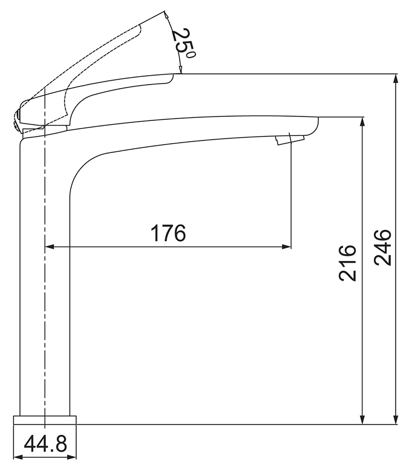 Misturador Monocomando Lavatório de Mesa para Cuba de Apoio Nickel Lorenzetti 2877 N89