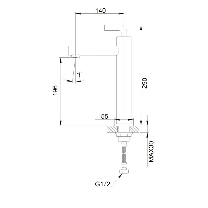 Misturador Monocomando Mesa Bica Alta para Lavatório Jiwi WJ-2322-215A