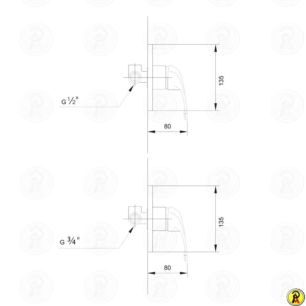 """Misturador Monocomando para Chuveiro 1/2"""" Jiwi WJ-1851-220A-1/2"""