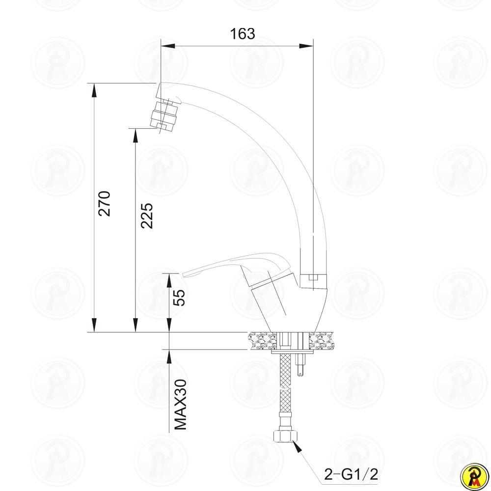 Misturador Monocomando para Cozinha Bica Giratória Jiwi WJ-1865-220A