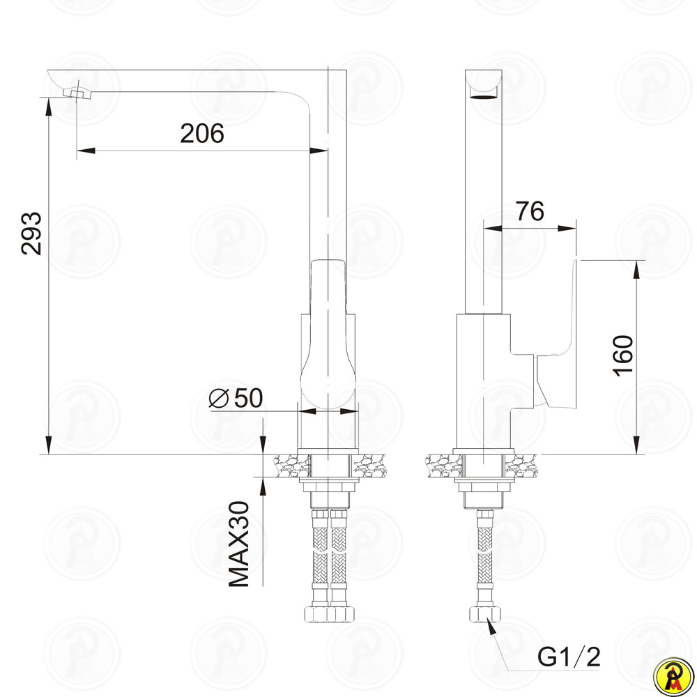 Misturador monocomando para cozinha bica móvel Jiwi WJ-1761-236H