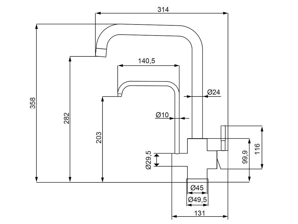 Misturador Monocomando para Cozinha de Mesa com Saída para Água Filtrada Lorenzetti 2263 I82
