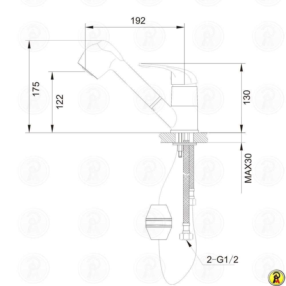 Misturador Monocomando para Cozinha de Mesa Jiwi WJ-1866-220A