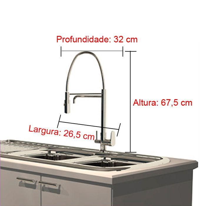Misturador Monocomando para Cozinha de Mesa Lorenzetti LorenKitchen 2264 C76