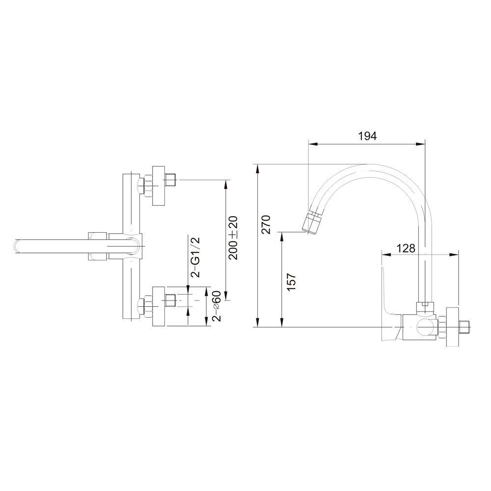 Misturador monocomando para cozinha de parede bica móvel Jiwi WJ-1763-236A