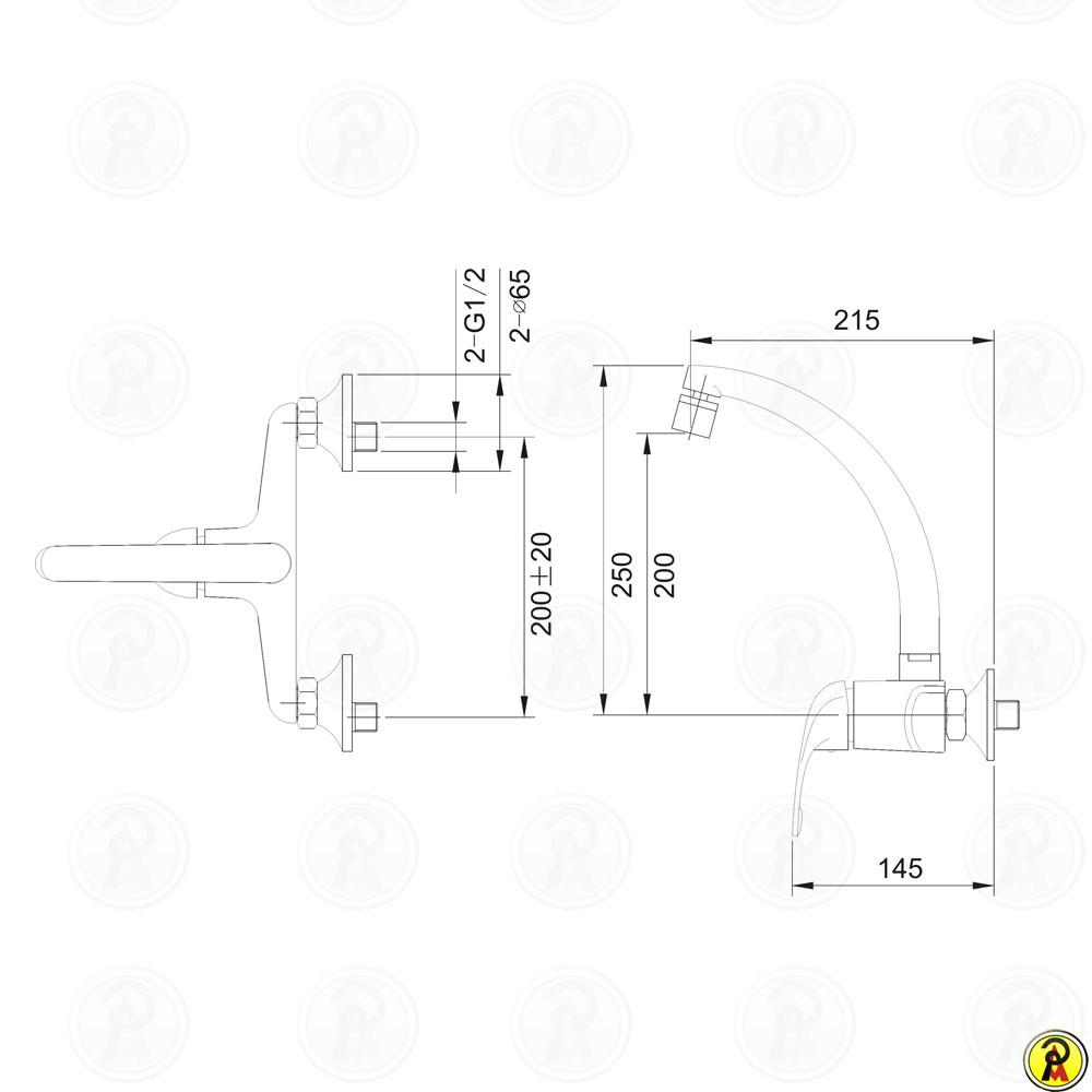 Misturador Monocomando para Cozinha de Parede Jiwi WJ-1863-220A