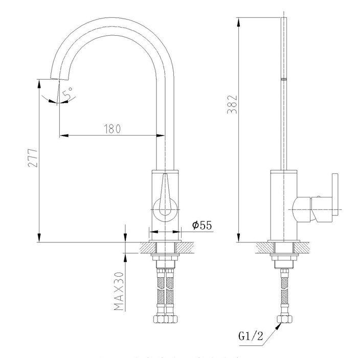 Misturador Monocomando para Cozinha Jiwi WJ-1361-211A