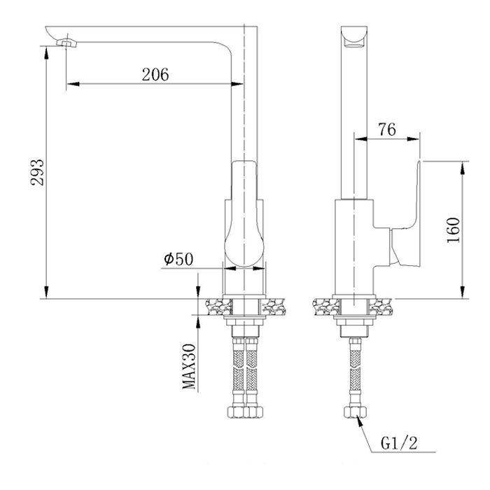 Misturador monocomando para cozinha Jiwi WJ-1761-236A