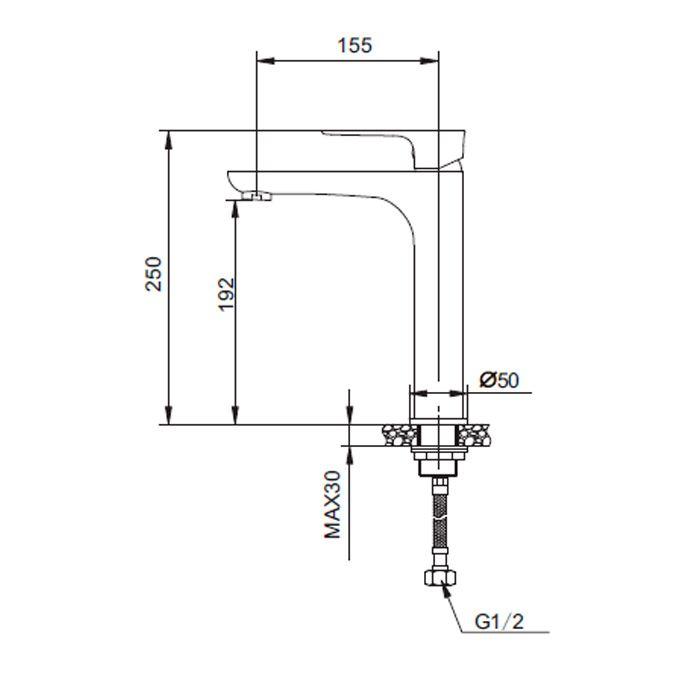 Misturador monocomando para lavatório de mesa bica alta Jiwi WJ-1722-236H