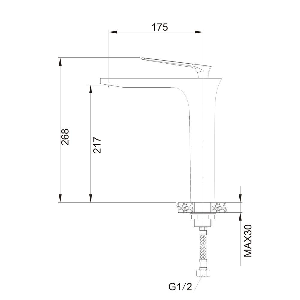 Misturador Monocomando para Lavatório de Mesa Bica Alta Jiwi WJ-2222-224A
