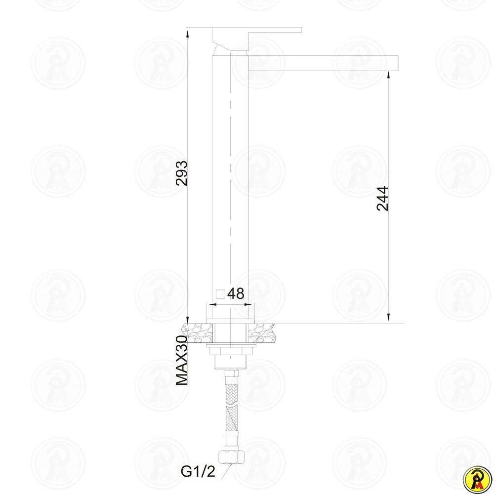 Misturador Monocomando para Lavatório de Mesa Bica Alta Jiwi WJ-2622-59A